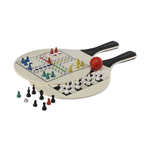 Raquettes en bois avec représentation de 2 jeux différents