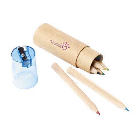 6 crayons de couleur dans un cylindre en carton