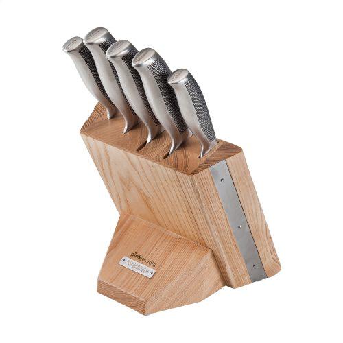 Bloc de couteaux solide en chêne naturel avec 6 couteaux