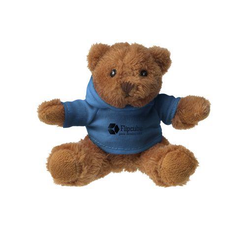 Petit ours en peluche avec t-shirt à capuche.